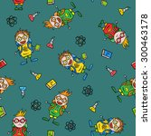 seamless pattern with amusing... | Shutterstock .eps vector #300463178