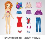 paper doll of a young beautiful ... | Shutterstock .eps vector #300474023