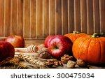 wood background with pumpkin ... | Shutterstock . vector #300475034