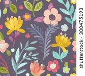 seamless hand illustrated... | Shutterstock . vector #300475193