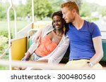 couple in love traveling by a... | Shutterstock . vector #300480560