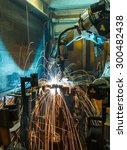 welding robot movement in a car ... | Shutterstock . vector #300482438