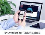 man orders uber x through his... | Shutterstock . vector #300482888