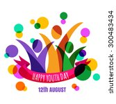 multicolor abstract young happy ... | Shutterstock .eps vector #300483434