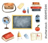 watercolor school objects... | Shutterstock . vector #300495344