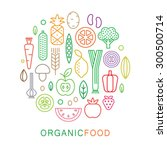 organic food icons. vegetarian... | Shutterstock .eps vector #300500714