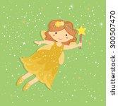 cute little yellow fairy.... | Shutterstock .eps vector #300507470