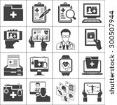 medical record icons sett | Shutterstock .eps vector #300507944