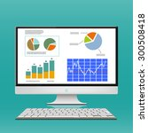 financial charts and graphs on... | Shutterstock .eps vector #300508418