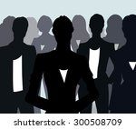 group of black silhouettes of... | Shutterstock .eps vector #300508709