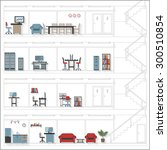sketch style cutaway office... | Shutterstock .eps vector #300510854