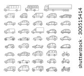 Car Icons Set. Linear Style....