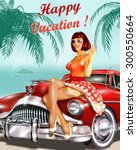 vintage vacation background... | Shutterstock .eps vector #300550664