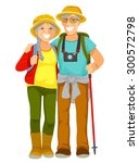 happy senior couple traveling... | Shutterstock .eps vector #300572798