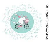 happy cat postman on a bicycle... | Shutterstock .eps vector #300573104