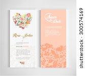 set of vintage wedding cards...   Shutterstock .eps vector #300574169