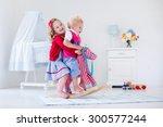 two children play indoors. kids ... | Shutterstock . vector #300577244