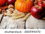 wood background with pumpkin ... | Shutterstock . vector #300594470