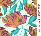 seamless tropical flower  plant ... | Shutterstock . vector #300595733