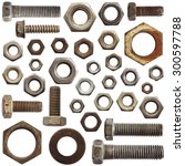 set of old bolts and nuts... | Shutterstock . vector #300597788