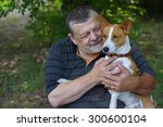 bearded senior man with his... | Shutterstock . vector #300600104