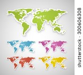 vector colorful globe map of... | Shutterstock .eps vector #300606308
