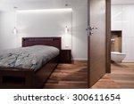 bedroom connected with bathroom ... | Shutterstock . vector #300611654