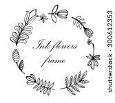 floral frame hand drawn ink... | Shutterstock .eps vector #300612353