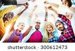friends huddle join holiday... | Shutterstock . vector #300612473