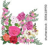 illustration with pink flowers... | Shutterstock .eps vector #300618950