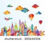 europe skyline detailed... | Shutterstock .eps vector #300636506