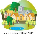 A Cartoon English Village With...
