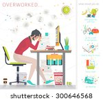 concept of overworked man. man... | Shutterstock .eps vector #300646568