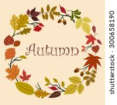 autumn foliage wreath with... | Shutterstock .eps vector #300658190