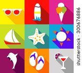 set icons flat style vector... | Shutterstock .eps vector #300676886