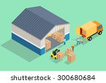 isometric warehouse. loading... | Shutterstock .eps vector #300680684