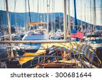 american flag waving from a... | Shutterstock . vector #300681644