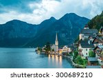 hallstatt village in alps at... | Shutterstock . vector #300689210
