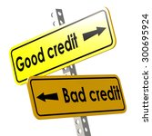 good and bad credit with yellow ... | Shutterstock . vector #300695924