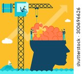 Stock vector man with brain puzzle creative concept background puzzle and create build crane and head 300696626