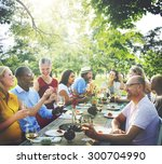 friends outdoors nature picnic... | Shutterstock . vector #300704990