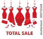 red woman dresses on a hanger... | Shutterstock .eps vector #300710168