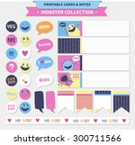 vector printable cards and... | Shutterstock .eps vector #300711566