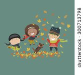kids playing with autumn leaves.... | Shutterstock .eps vector #300713798