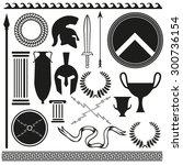 old greek roman spartan set... | Shutterstock .eps vector #300736154