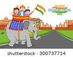 indian kid hoisting flag of... | Shutterstock .eps vector #300737714