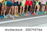 athletes waiting at marathon... | Shutterstock . vector #300745766