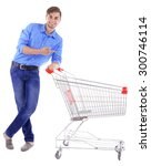 young man with empty shopping... | Shutterstock . vector #300746114