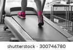 unknown woman with pink shoes... | Shutterstock . vector #300746780