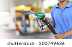 gas pump for refueling car on... | Shutterstock . vector #300749636